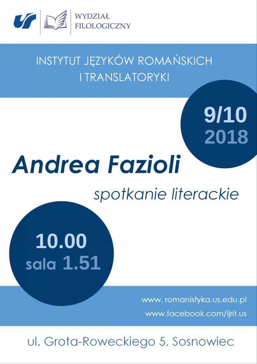 plakat promujący spotkanie literackie z Andreą Faziolim zawierające datę i miejsce wydarzenia. Plakat jest biało-niebieski