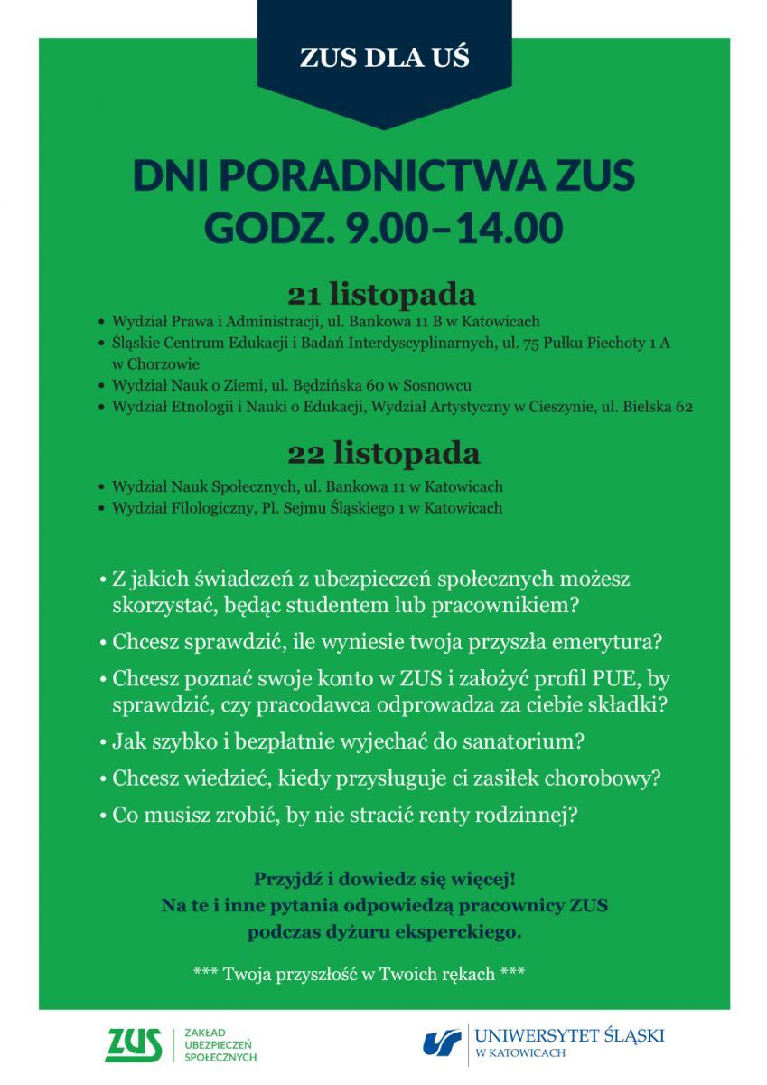 """Plakat promujący akcję """"ZUS dla UŚ"""", zawiera terminy dyżurów eksperckich"""