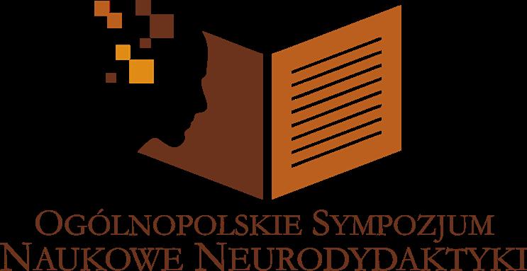 Logo sympozjum: grafika prezentująca zarys twarzy człowieka z kilkoma kwadratami w odcieniach brązu oraz otwartą książkę, pod spodem napis: Ogólnopolskie Sympozjum Naukowe Neurodydaktyki