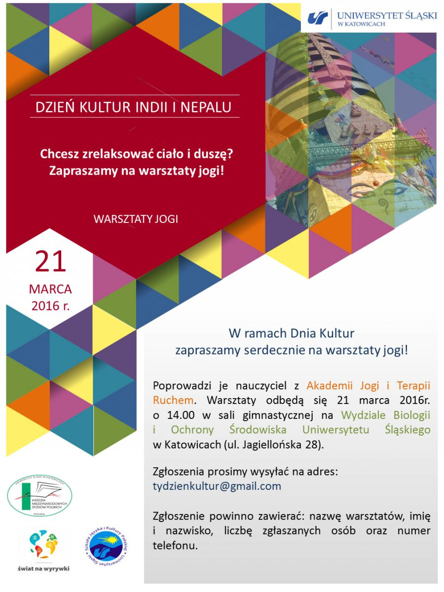 plata dnia kultur Indii i Neapolu dotyczący warsztatów jogi