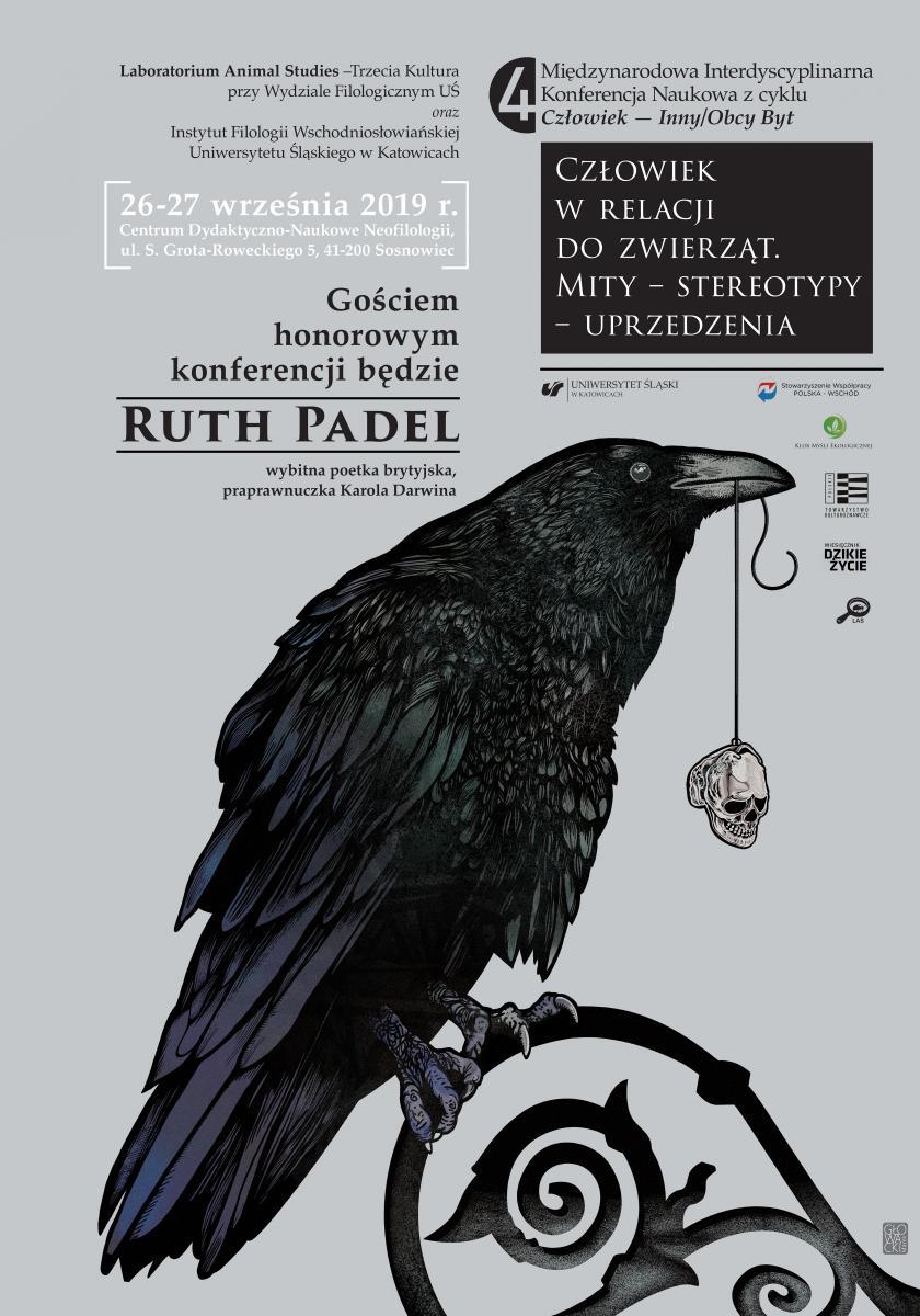 """czarno-biały plakat promujący IV Międzynarodową Interdyscyplinarną Konferencję Naukową z cyklu """"Człowiek — Inny/Obcy Byt"""" z najważniejszymi danymi teleadresowymi wydarzenia"""