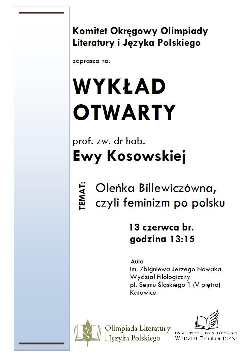 plakat promujący wykład prof. Ewy Kosowskiej