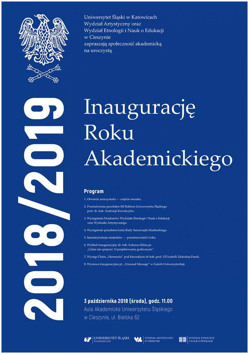 Afisz informujący o wydziałowej inauguracji roku akademickiego 2018/2019