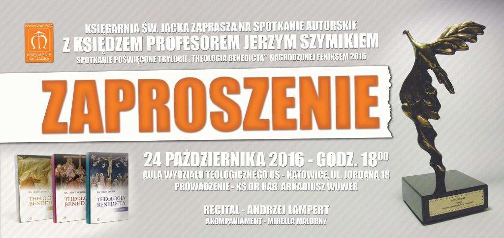 Plakat promujący spotkanie z ks. prof. Jerzym Szymikiem