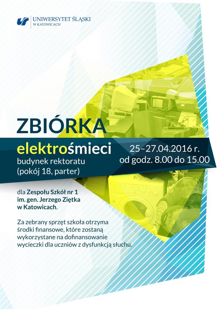 Plakat promujący akcję i zbiórkę elektrośmieci
