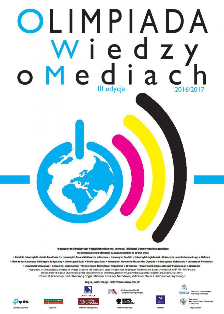 Plakat promujący Olimpiadę Wiedza o Mediach
