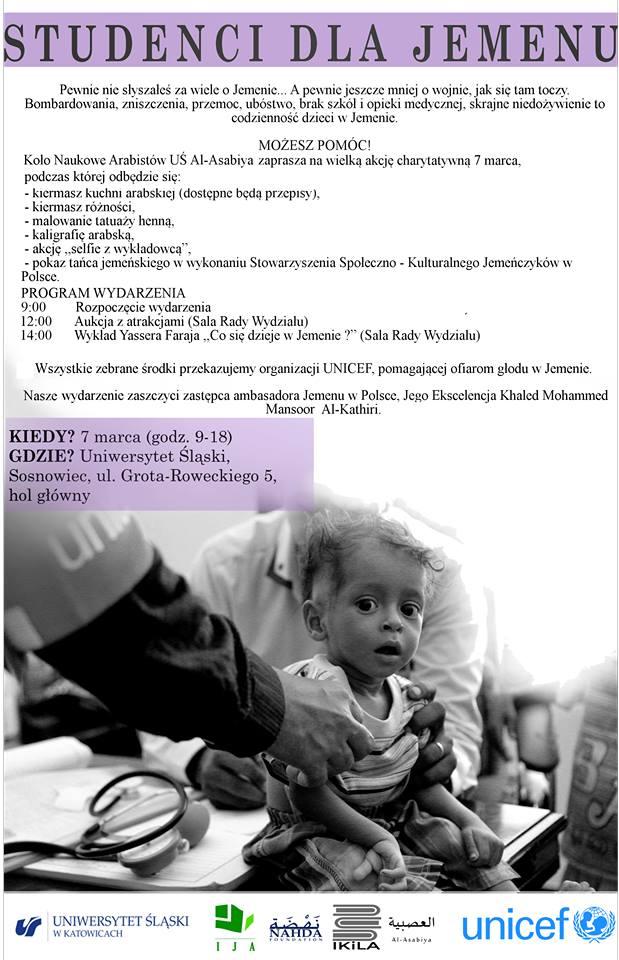 """plakat promujący akcję charytatywną pn. """"Studenci dla Jemenu"""" zawierającą zdjęcie chłopca - mieszkańca Jermenu oraz program wydarzenia"""