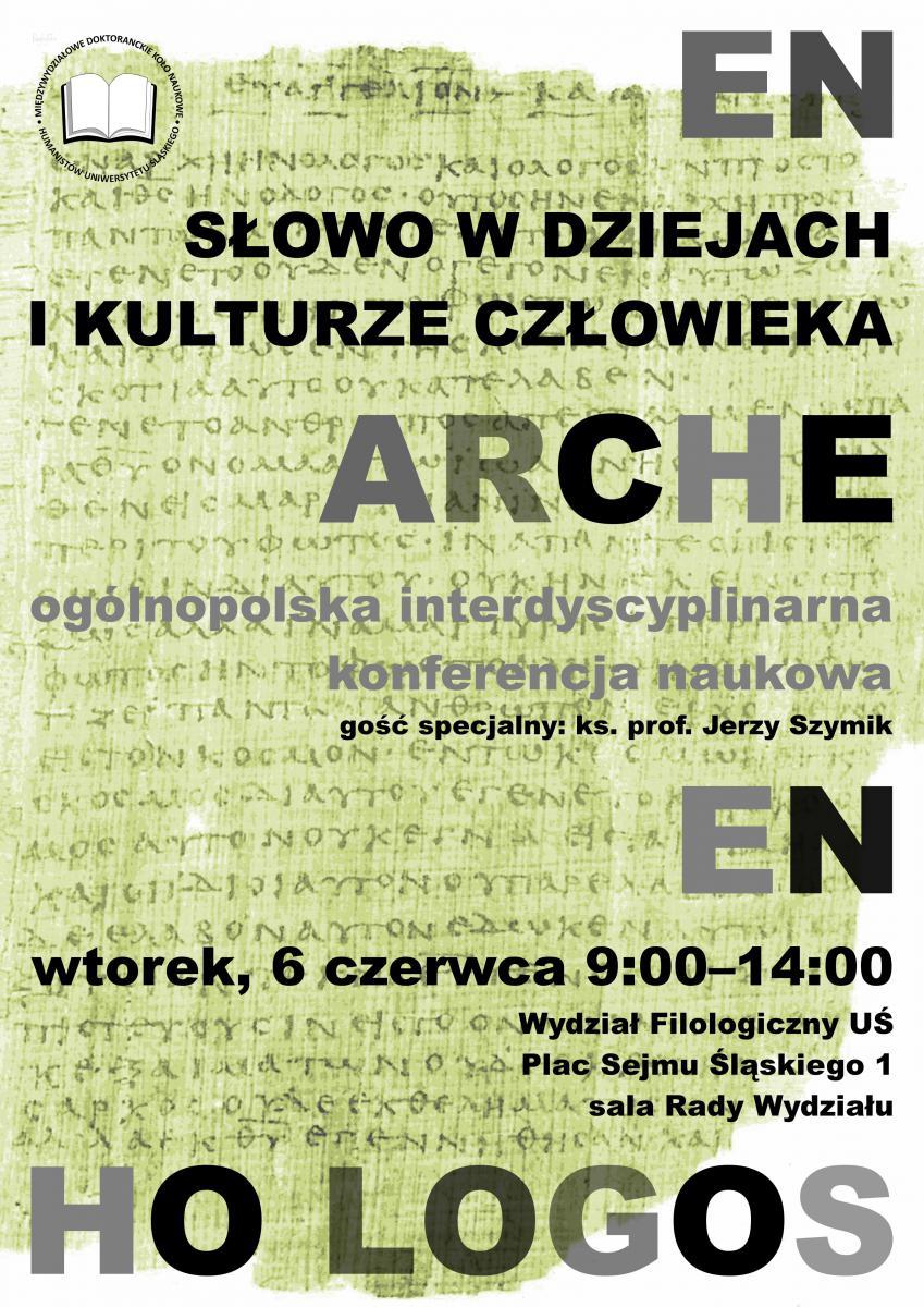 Plakat promujący konferencję z tytułem wydarzenia i datą