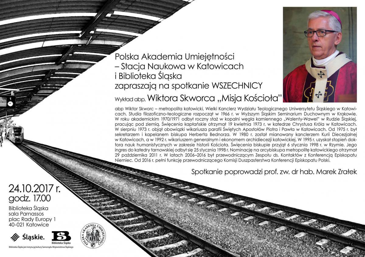 plakat promujący wykład abp dr. Wiktora Skworca zawierający jego zdjęcie oraz krótki biogram