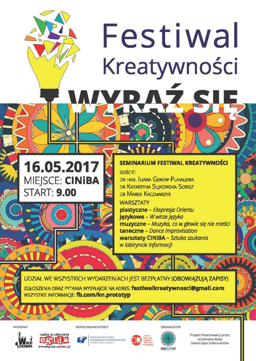 Plakat promujący Festiwal Kreatywności zawierający spis uczestników seminarium i listę warsztatów