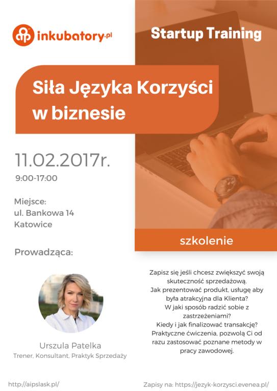 Plakat szkolenia w kolorach białym i pomarańczowym, z opisem warsztatów i zdjęciem osoby prowadzącej