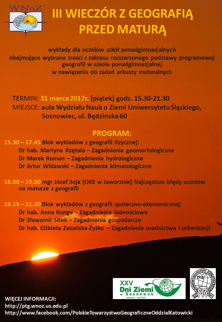 Plakat promujący III Wieczór z Geografią przed Maturą zawierający szczegółowy harmonogram spotkania