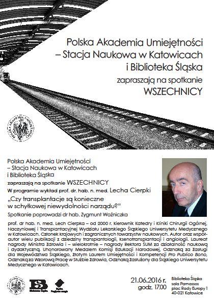 Plakat promujący wykład Wszechnicy PAU prof. Lecha Cierpki