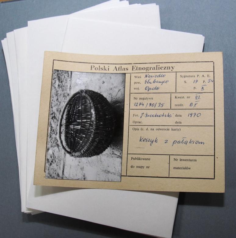 Karta atlasowa prezentująca zdjęcie koszyka z pałąkiem wykonanego w Nasiedlu, w powiecie Głubczyce, w województwie opolskim, wykonane w 1970 roku przez J. Grocholskiego.