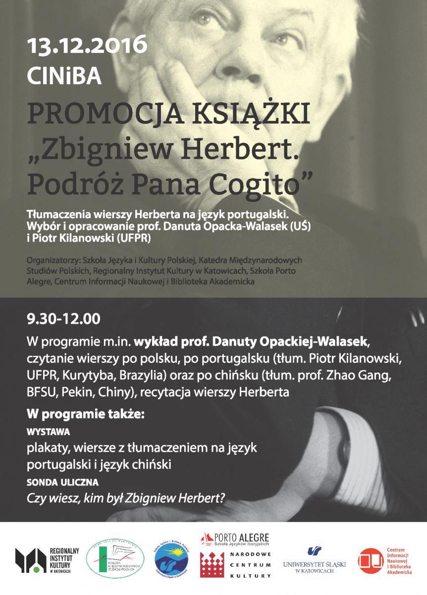"""Plakat promujący spotkanie poświęcone książce """"Zbigniew Herbert. Podróż Pana Cogito"""""""