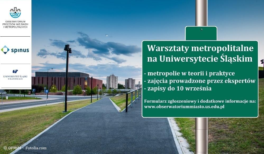 Plakat promujący warsztaty metropolitalne prezentująca drogę i drogowskaz, na którym znajduje się nazwa warsztatów