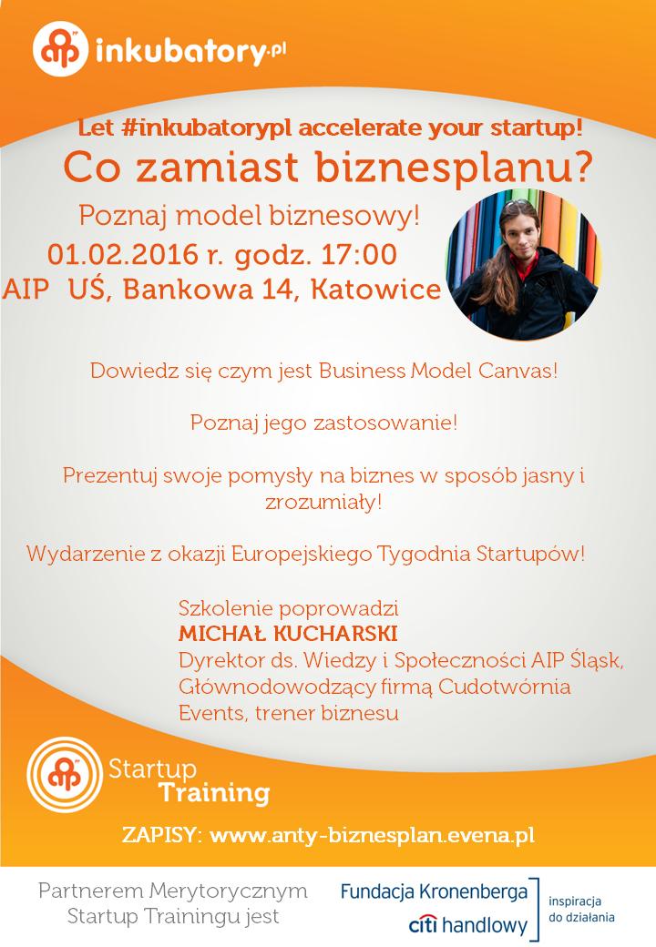 Szaro-pomarańczowy plakat zawierający informacje na temat szkolenia, opatrzony zdjęciem osoby prowadzącej