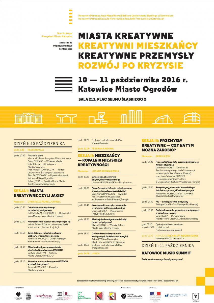 """Program konferencji pt. """"Miasta kreatywne, kreatywni mieszkańcy..."""""""