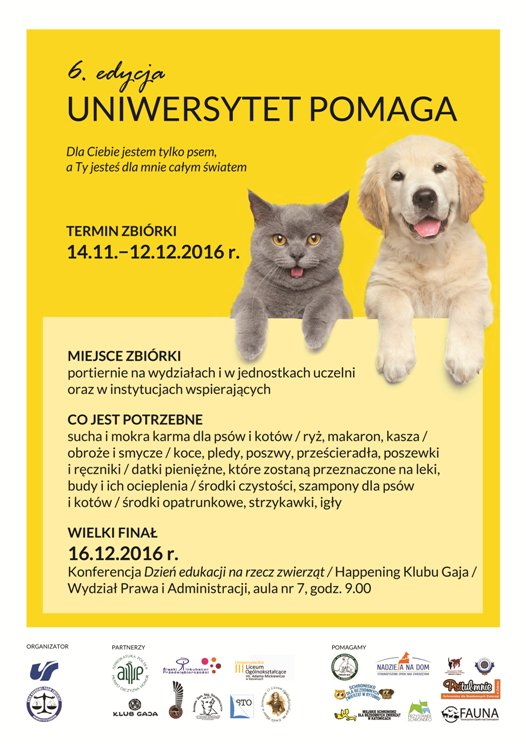 "Plakat akcji ""Uniwersytet Pomaga"""