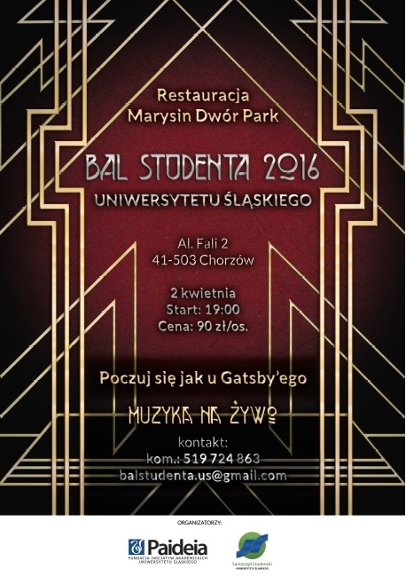 Plakat promujący Bal Studentów UŚ