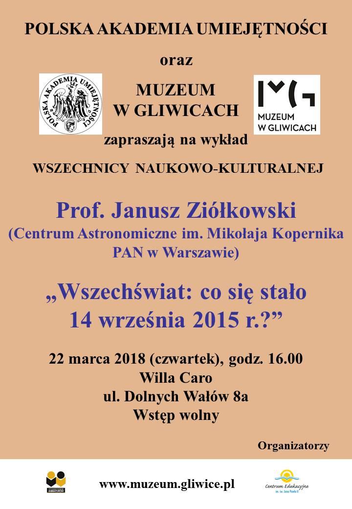 Plakat wydarzenia. Na brązowym tle informacje dotyczące spotkania w ramach Wszechnicy Naukowo-Kulturalnej z logotypami organizatorów