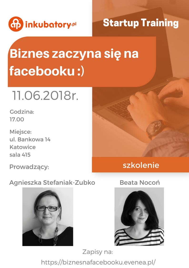 biało-pomarańczowy plakat promujący warsztaty poświęcone wykorzystywaniu facebooka w biznesie. Na plakacie najważniejsze dane dot. wydarzenia oraz zdjęcia prowadzących szkolenie i logo AIP