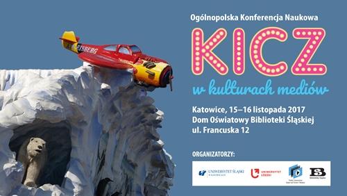 plakat promujący konferencję o kiczu, lodowa góra, o którą zahaczył samolot, a z jaskini wygląda niedzwiedź