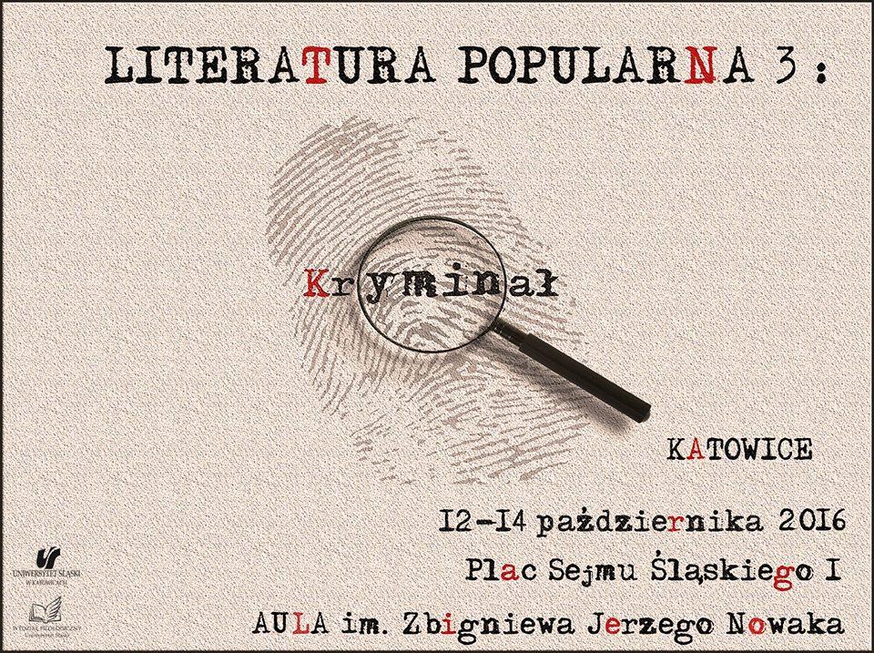 Plakat promujący konferencję dotyczącą kryminałów