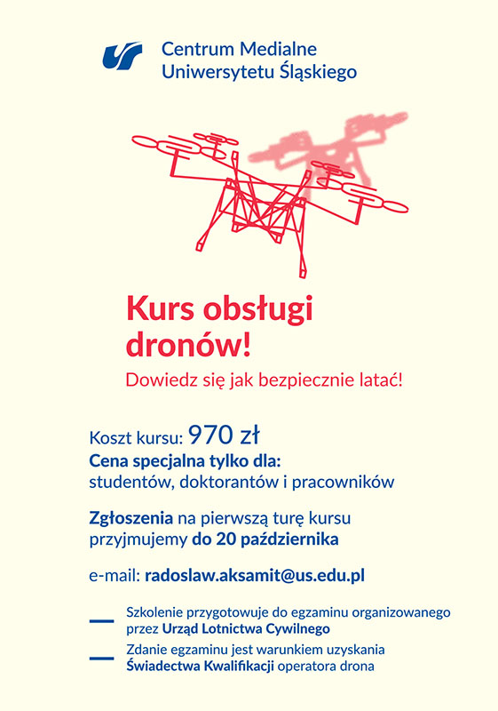 """Plakat promujący szkolenie, zawiera grafikę dronu i napis """"Kurs obsługi dronów"""""""