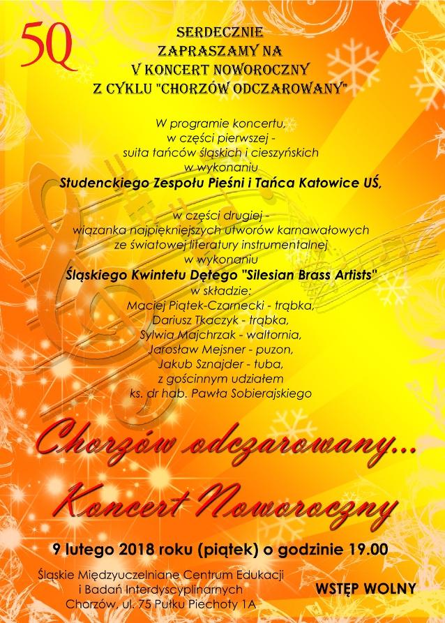 Plakat koncertu jubileuszowego na żółtym tle z informacjami na temat miejsca i czasu wydarzenia oraz programem koncertu