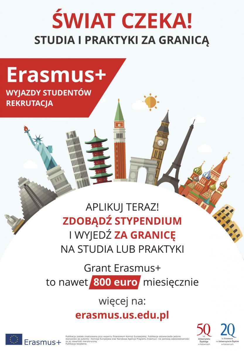 Grafika promująca program Erasmus+. Przeważa kolorystyka biało-czerwona. Napis: Aplikuj teraz! Zdobądź stypendium i wyjedź za granicę na studia lub praktyki. Grant Erasmus+ to nawet 800 euro miesięcznie. Link do strony Erasmusa UŚ. Na grafice najbardziej reprezentatywne budynki europejskich miast