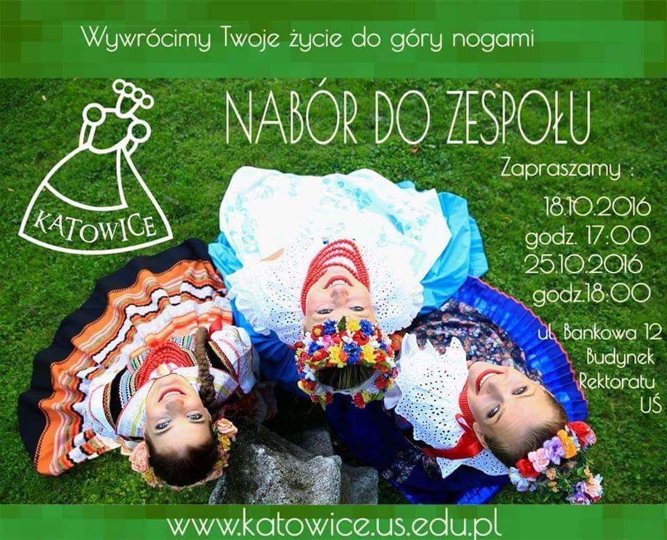 Plakat promujący rekrytację do Zespołu Pieśni i Tańca Katowice