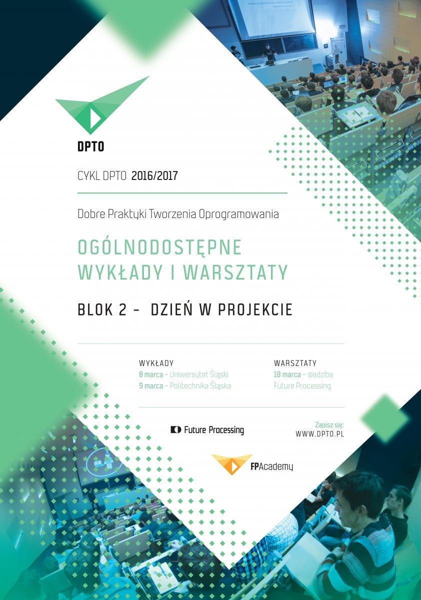 Plakat promujący drugi blok cyklu DPTO zawierający najważniejsze informacje (datę, miejsce, organizatora)