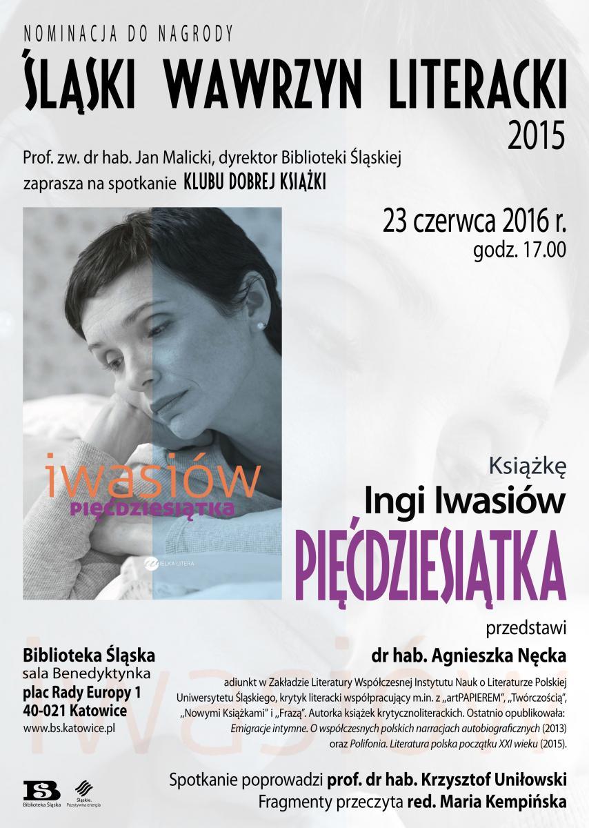 Plakat promujący spotkanie Klubu Dobrej Książki.