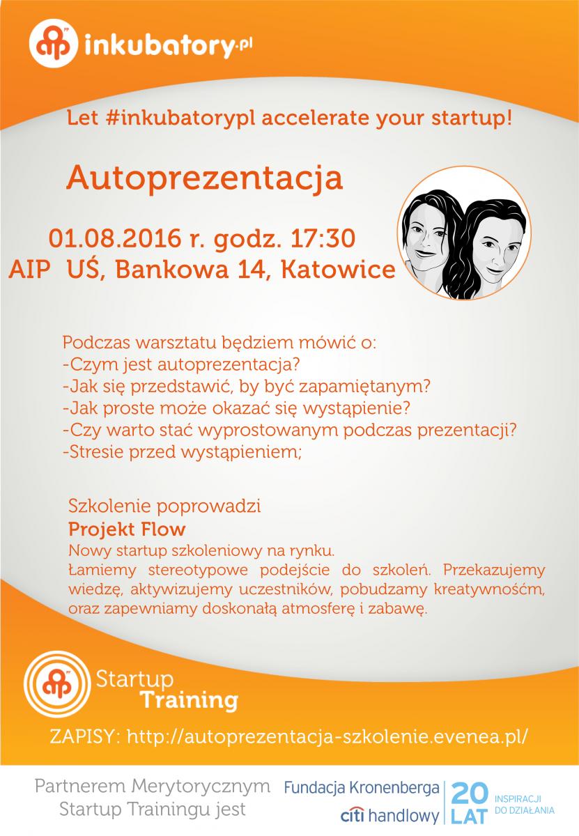 """Plakat promujący szkolenie AIP pt. """"Autoprezentacja"""""""