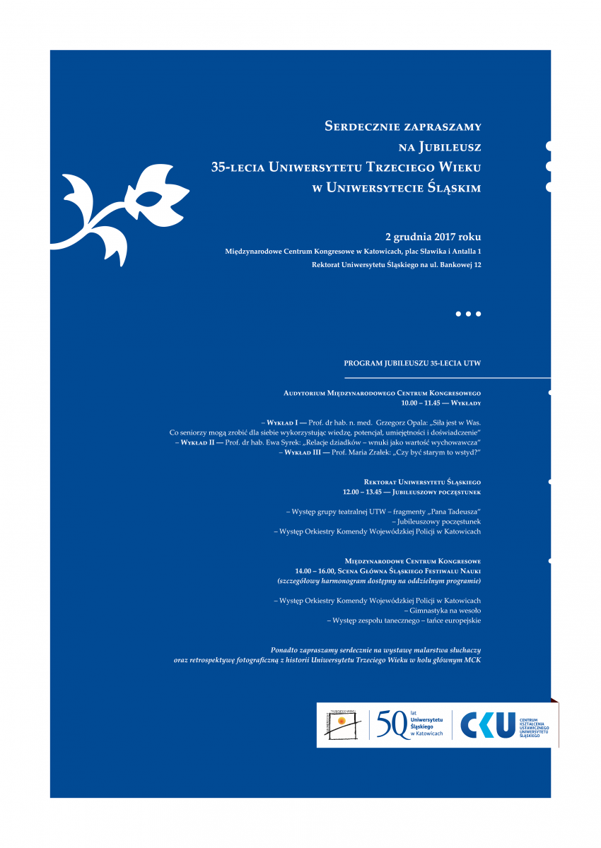 plakat-zaproszenie na jubileusz 35-lecia istnienia Uniwersytetu Trzeciego Wieku zawierający szczegółowy program wydarzenia oraz logo UTW, CKU i UŚ