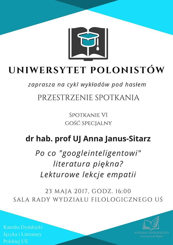Plakat promujący 6. spotkanie Uniwersytetu Polonistów zawierający nazwisko wykładowcy i tytuł prelekcji