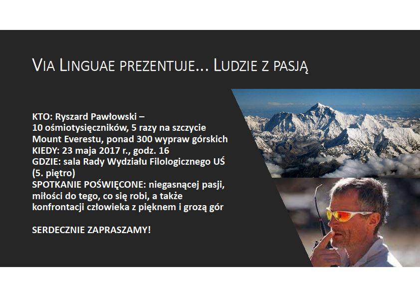Plakat promujący spotkanie z Ryszardem Pawłowskim zawierające jego zdjęcie oraz podstawowe dane nt. wydarzenia