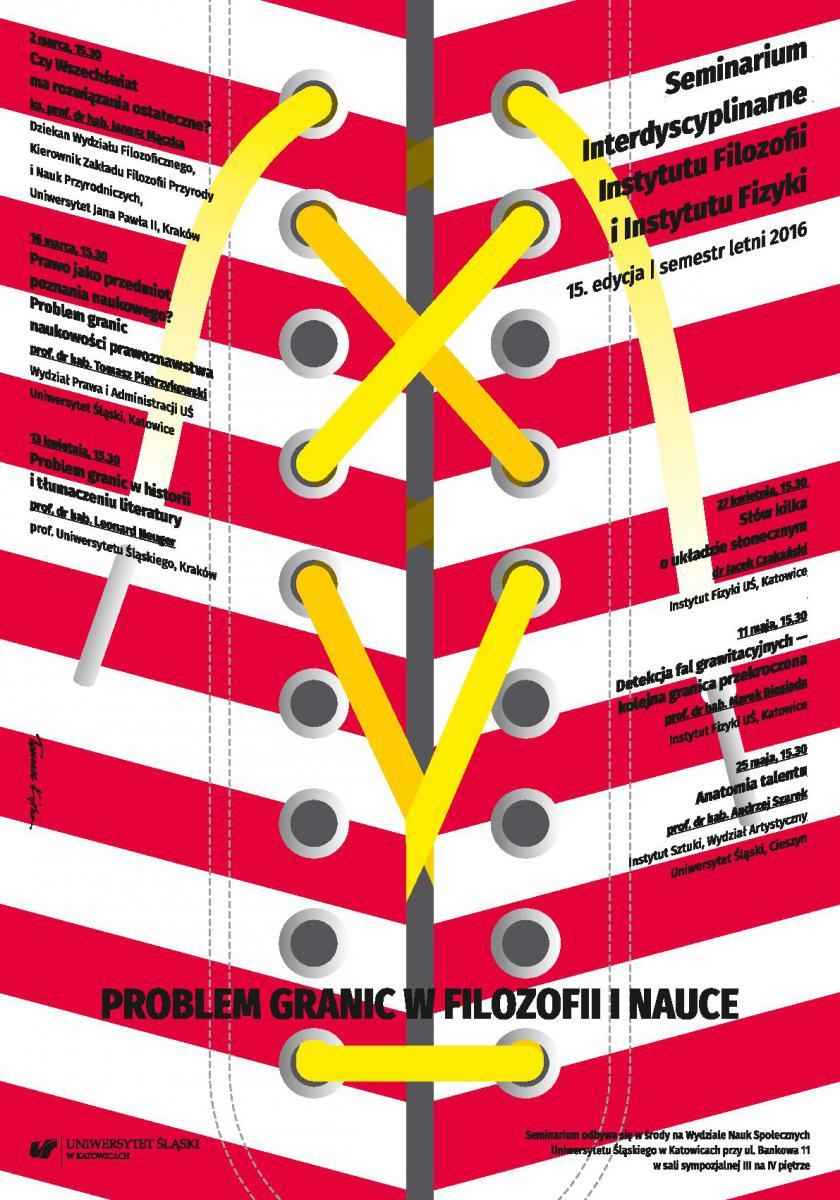 """plakat promujący spotkania z cyklu """"Problem granic w filozofii i nauce"""""""