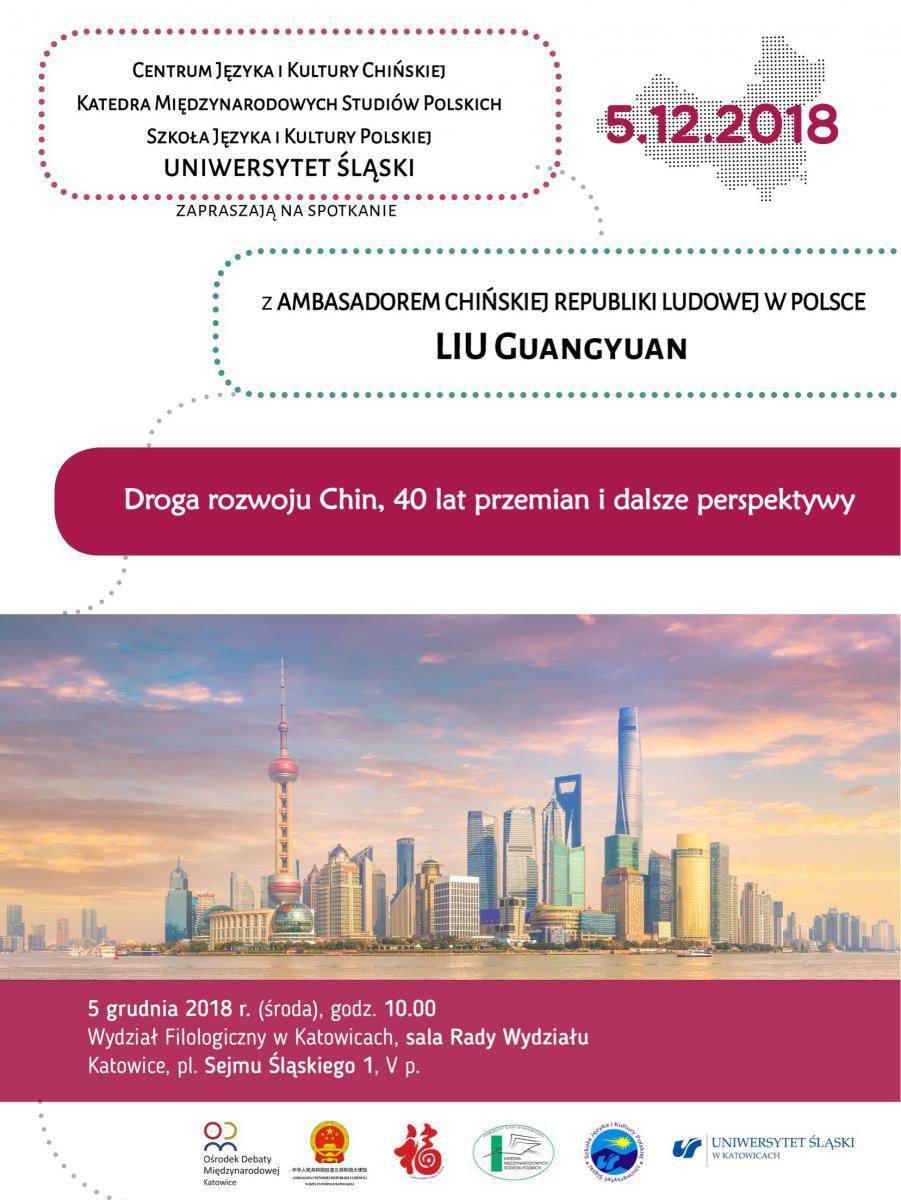 Plakat promujący spotkanie z ambasadorem na Wydziale Filologicznym Uniwersytetu Śląskiego