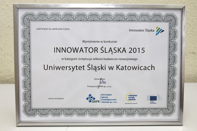 Dylom Innowator Śląska 2015