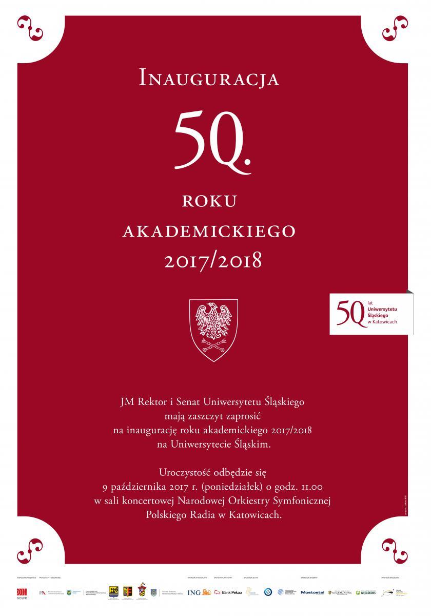plakat promujący 50. inaugurację zawierający jubileuszowe logo uś, termin i datę wydarzenia oraz logo sponsorów