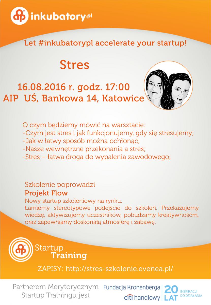 """Plakat promujący szkolenie pt. """"Stres"""""""