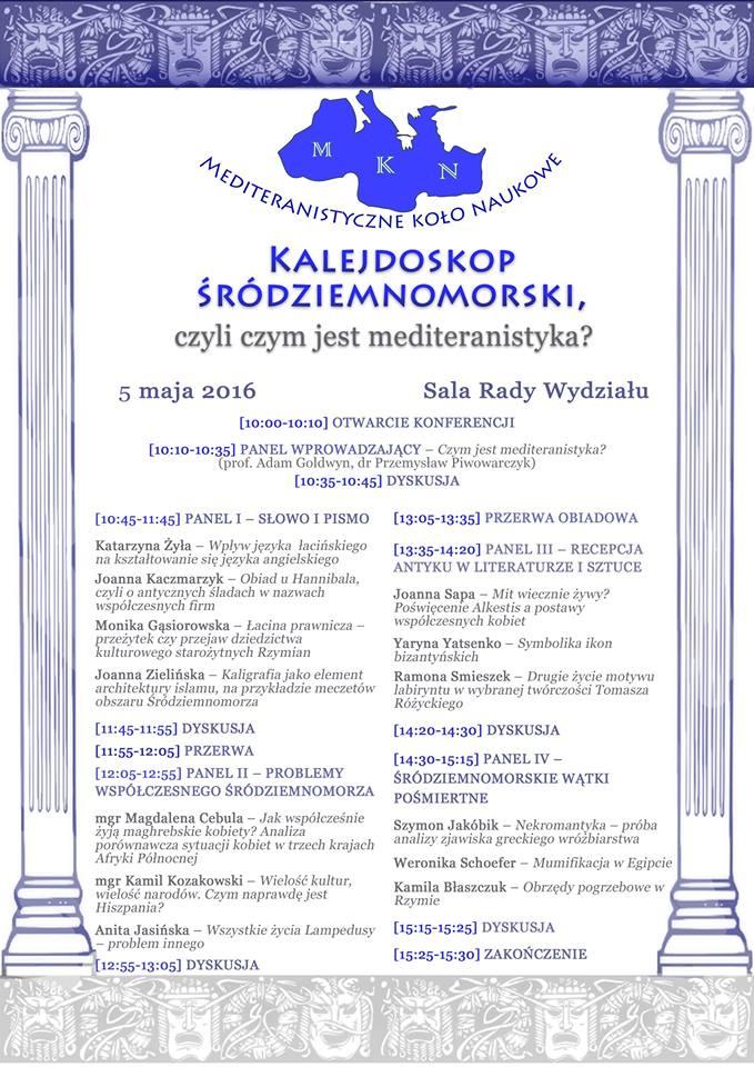 "Plakat z programem konferencji pt. ""Kalejdoskop śródziemnomorski..."""