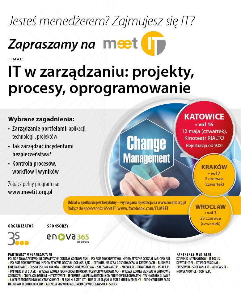 """Plakat promujący czerwcowe spotkania w ramach """"Meet IT"""""""