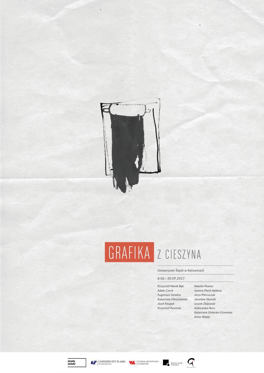 """Plakat promujący wystawę pt. """"Cieszyńska grafika"""" zawierającsa nazwiska autorów prezentowanych na niej prac"""