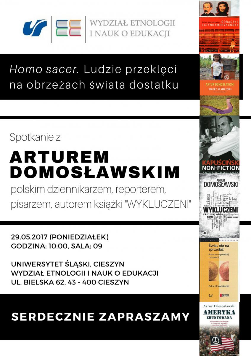 Plakat wydarzenia ze szczegółami nt. spotkania oraz okładkami książek zaproszonego gościa