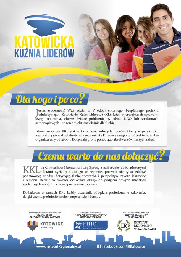 Plakat informacyjny dotyczący Katowickiej Kuźni Liderów