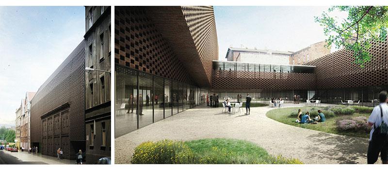 Dwa zdjęcia obok siebie, na pierwszym - front budynku Wydziału Radia i Telewizji UŚ, na drugim - dziedziniec wewnętrzny
