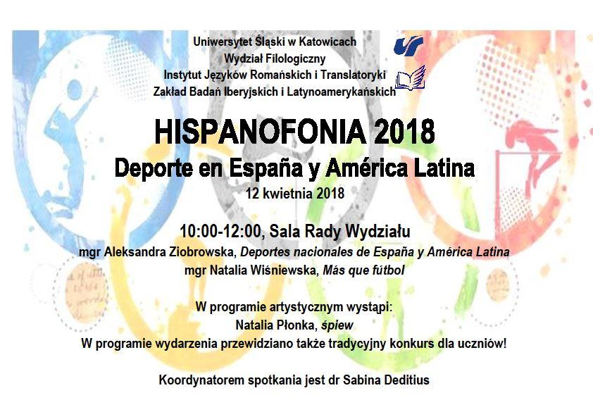 plakat promujący Hispanofonię 2018 zawierający szczegółowy program wydarzenia. W tle zarysy budynków i ludzkich sylwetek
